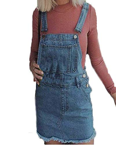 Damen Punk Style verstellbare Träger Denim Latzhose Distressed Dress
