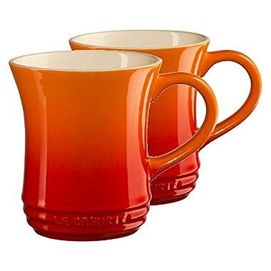 Le Creuset Flame Stoneware 14 Ounce Tea Mug, Set of 2