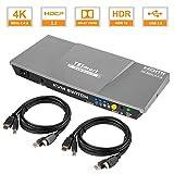 TESmart 2fach HDMI KVM Switch – 4K Ultra HD mit 3840 x 2160 bei 60 Hz 4:4:4; 2 Stuck 1,5m KVM-Kabel unterstützt USB 2.0 Gerätebedienung bis max. 2 Computer/Server/DVR (Grau)