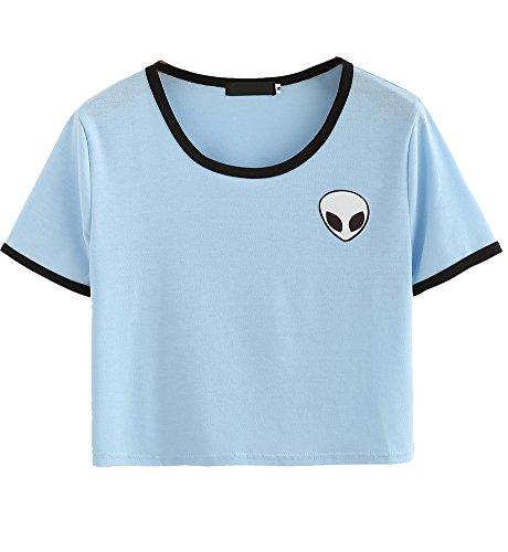 Sannysis Aliens Stampa 3D Raccolto T-Shirt Manica Corta Cime delle Donne - Cielo Blu, S