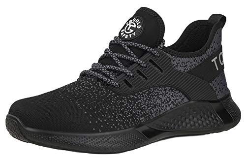[tqgold] 安全靴 スニーカー 作業靴 軽量 あんぜん靴 メンズ レディース 通気性 鋼先芯 ケブラーミッドソール 耐摩耗 防刺 耐滑 ワークシューズ セーフティーシューズ (ブラック 25.5cm)