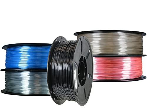 5 er Set PLA+ Shiney Silk 1,75mm 3D Drucker Filament 5 x 1kg = 3kg Black Pearl / Pyrit Gold /Silicium Silver / Diamond Blue / Turmalin Red