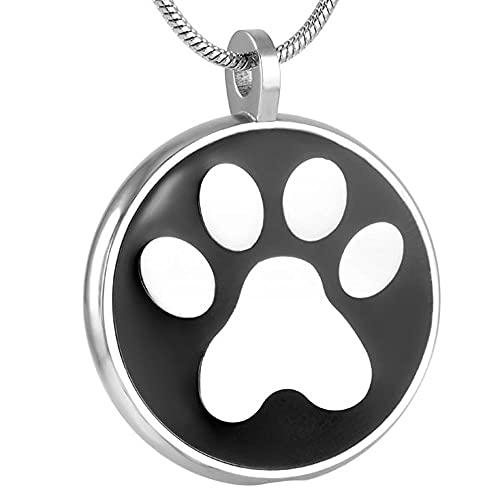 TIANZXS Collar de Ceniza de urna de cremación de Gato de Perro Mascota finamente procesado con Estampado de Pata de Animal de Moda de Acero Inoxidable Mujer Hombre