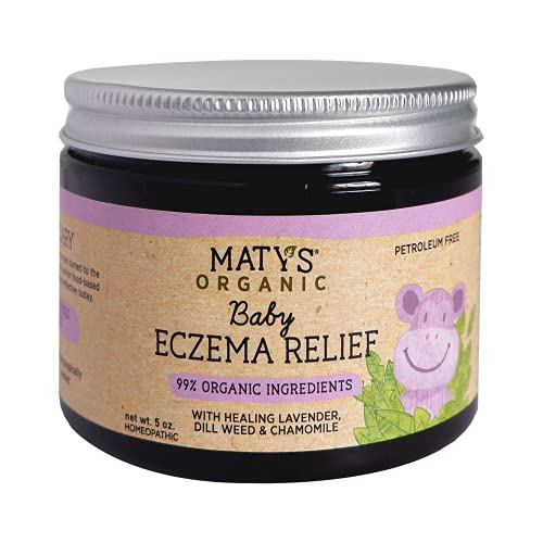 Maty's Baby Eczema Relief - Relieves & Protects Dry, Itchy Skin, Safe for Sensitive Skin, Made with 99% Organic Ingredients like Lavender & Chamomile Oil - 5 oz.