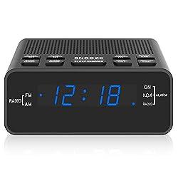 Alarm Clock, AM/FM Digital Alarm Clock Radio with LED Display,Sleep Timer, Dimmer, Snooze Battery Backup for Bedrooms,Bedside,Desk,Shelf