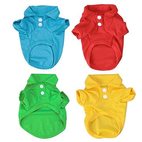 POPETPOP 4 STÜCKE Reine Farbe Haustier Hund Polo T-Shirt Sommer Haustiere Hunde Kleidung Kurzarm Niedliche Polo T-Shirts für Kleine Hunde(Zufällige Farbe)