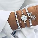Edary Armband-Set mit Quasten, weißes Marmor-Armband, mit Herz, Perlen-Handkette, verstellbar, für Damen und Mädchen
