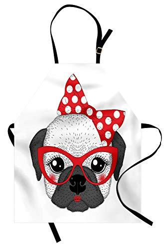 ABAKUHAUS Buldog Delantal de Cocina, Pin Up Retro Mujer Mascotas, Apto para Lavadora Colores No Destiñen Resistentes al Agua, Bermellón Gris Y Negro