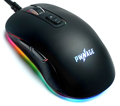 Pwnage Altier Pro Gaming Mouse - 3360 Optical - Wired RGB 16.8 Million Spectrum Lighting - 7 Programmable Buttons - 12,000 DPI Optical Sensor - PixArt PMW3360