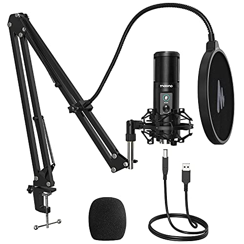 Maono AU-PM421 Condenser USB Microphone, Professional Studio Recording Mic with 1-Touch Mute and Mic Gain Knob for PC, Singing, Podcast, Gaming, YouTube