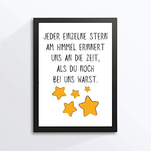 Kunstdruck Din A4 ungerahmt Spruch Trauer - Jeder einzelne Stern am Himmel - Beileid Verlust Abschied Beerdigung Sehnsucht Druck Poster Bild