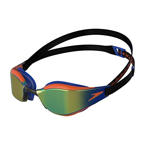 Speedo Fastskin Hyper Elite de Espejo Gafas de natación, Unisex-Youth, Negro/Azul/Dragon Fire/Ocean Chrome, Einheitsgröße