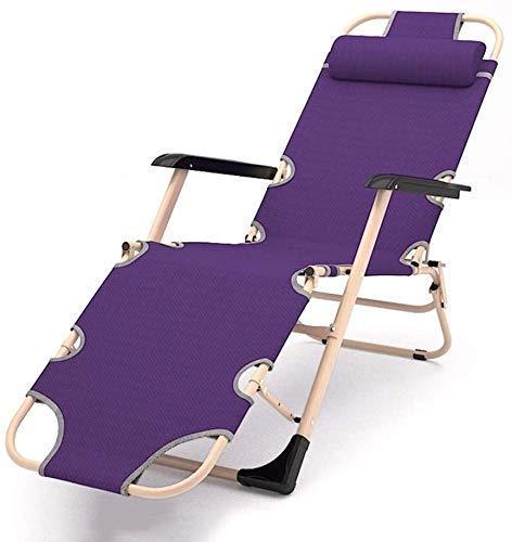qwertyuio Folding Recliner Sun Lounger Garden Chairs Folding Bed Recliner, Portable Folding Chair Office Lounge Chair Lie Flat Tiltable Household Sofa Bed (Color, Gray, Size, No Pad),Purple