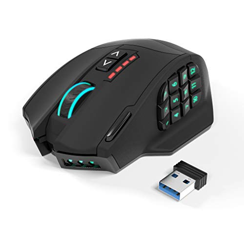 Ratón inalámbrico para juegos Gamspeed V8 Pro RGB MMO sin retraso, sensor óptico de 16,000 DPI, tecnología de transmisión de 2.4 GHz, iluminación RGB cromática, 16 botones programables