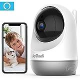 ieGeek Cámara de Vigilancia WiFi Interior, Cámara IP WiFi de Seguridad, AI Cámara para Mascotas con Seguimiento de Movimiento, HD Visión Nocturna para Monitorear Bebés/Mascotas, Apoyo Alexa