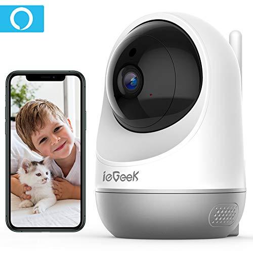 ieGeek Cámara WiFi IP de Seguridad, cámara inalámbrica para Mascotas, cámara de vigilancia 1080P CCTV doméstica, con Seguimiento de Movimiento