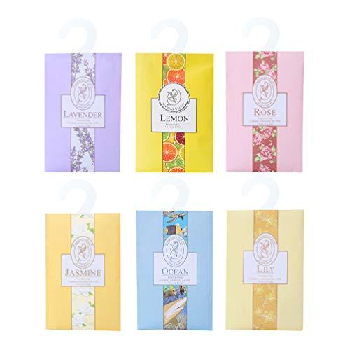 BESPORTBLE Bolsitas Perfumadas Bolsas Colgantes Bolsas Perfumadas Ambientador Desodorante para Cajones Armarios de Automóviles (Sabor Aleatorio) 6 Piezas