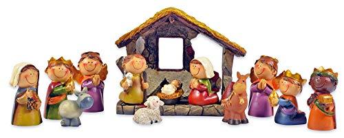 Riffelmacher Kinder Krippenfiguren Set mit Stall 12-TLG. 78356 - 2,5-9cm - Polyresin Weihnachtskrippe Jesus Geburt Weihnachtswunder Heiligabend Weihnachten Dekoration
