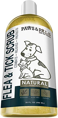 Paws & Pals Natural Flea and Tick Dog Shampoo 2-in-1 Best for Cats & Dogs - Made in USA w/Medicated Clinical Vet Formula - Immediate Relief & Kills Flea or Ticks on Contact, Preventing Diseases - 20oz