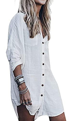 Encubrimientos Vestido de Playa Mujer Blusas Playa Vestidos Largos de Verano Blusa Camisa de algodón Camisolas y Pareos Trajes de baño Bikini Cover Up para Piscina Mar Verano Vacaciones
