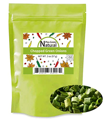 Freeze Dried Chopped Green Onions 2 Ounces, All Natural Non GMO Gluten Free Dry Green Onions in Resealable Bag