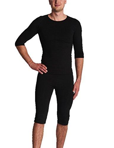 Gina's Bodywear Herren EMS-Wäsche, Trainingsanzug, Oberteil und Hose im Set, optimale Impulsweiterleitung (Schwarz, M)