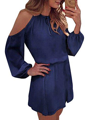 YOINS Sommerkleid Damen Kurz Schulterfrei Kleid Elegante Kleider für Damen Strandmode Langarm Neckholder A Linie Dunkelblau EU32-34(Kleiner als Reguläre Größe)