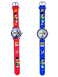 Kids Watch With Circular Dial (Combo Of Steel Finish & Plastic Finish Dial), Stainless Steel Back With Designer Colorful Strap.Pack of 2 Fashion Watches For Boys