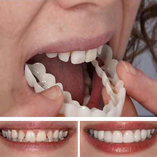 Qianyuyu Temporary Dental Prosthesis Teeth, Dentures, Top Cosmetic Dental Veneers, Comfort fit Snap on Flex, Fits The Prevently Quick Dentures