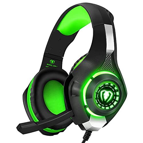BlueFire Cuffie Gaming per Xbox One, Cuffie da Gioco con 3.5mm Jack LED e Microfono Insonorizzato,Bass Stereo Audio Surround Cuffie da Gaming per PS4 Xbox One S Nintendo Switch PC Laptop(Verde)