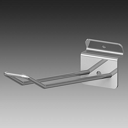 Gancho doble blíster para panel lamas ø 4 mm. long. 300 mm. cromado, 25 unidades