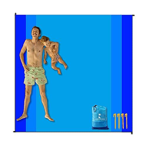 ADISHWARS Coperta da Spiaggia, Grandi Accessori da Spiaggia Impermeabile, Coperte da Picnic Leggere di Grandi Dimensioni Portatili per Viaggi, Campeggio, Con Custodia Impermeabile e 4 Unghie