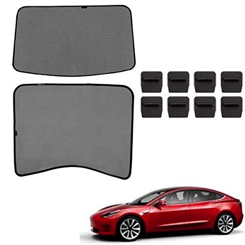 topfit Tesla Model 3 Sombrilla Coche Techo Solar Ventana de protección contra Rayos UV Ventana Sombrillas Techo de Vidrio Plegable Sombrilla Ventana Delantera Trasera Sombrilla para el Model 3