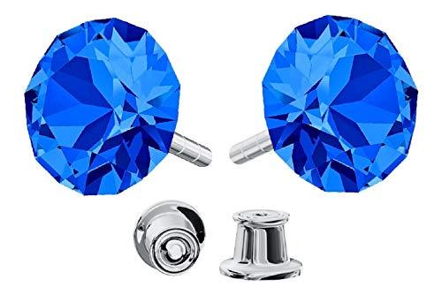*Beforya Paris* *Xirius* 925 Sterlingsilber Ohrstecker *Viele Farben* - Ohrringe mit Kristallen von Swarovski® - Schön Ohrringe Damen - Wunderbare Ohrringe mit Schmuckbox - PIN/75 (Capri Blue)