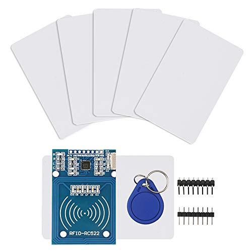 IZOKEE RFID Kit - RC522 RF IC Reader Sensor Modul mit 5 Stück zusätzlichen S50 Schlüsselkarte als Geschenk und RFID Chip Schlüsselring und für Arduino und Raspberry Pi