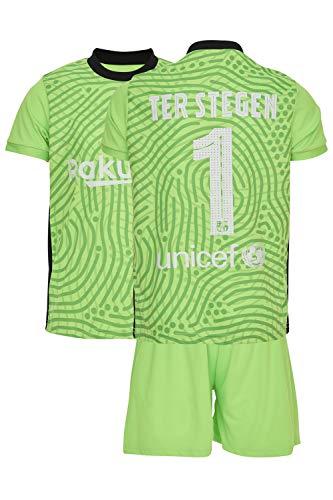 AMD SPORTS Barca Camiseta para niños TER Stegen Viene con Pantalones Cortos y Calcetines, edición hogar Tallas para niños (3-14 años)…… (TER Stegen Home, 176)