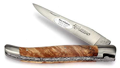 LAGUIOLE en Aubrac Taschenmesser - 12 cm Doppelplatine - Griff Aubrac Buchenholz - Klinge 10 cm matt - Backen matt