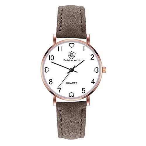 Uhr Armbanduhren Männer Damenuhren Hansee Temperament Damen Lederarmband Armbanduhr Quarz Analog Runde Uhren Wrist Watches(Grau)