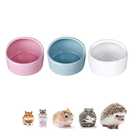 3 Stück Hamster Keramik Futterschalen,Hamster Feeder,Anti-Biss,Meerschweinchen, Geschirr, Rennmaus Eichhörnchen, Feeder, Essbecken(Zufällige Farbe)