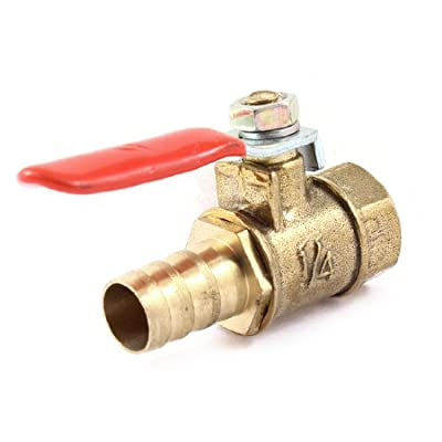 """1/4"""" PT Female Thread to Barb Connector Brass Ball Control Valve from Amico"""