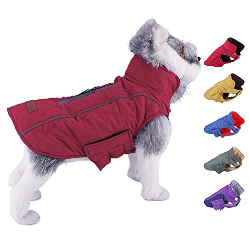 ThinkPet Dog Cold Weather Coats - Cozy Waterproof Windproof Reversible Winter Dog Jacket, Thick Padded Warm Coat Reflective Vest Clothes for Puppy Small Medium Large Dogs L Red