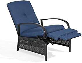 PATIO TREE Adjustable Outdoor Reclining Lounge Chair Patio Recliner Chair with Strong Extendable Metal Frame and Removable Cushions for Outdoor Reading or Relaxation (Navy)