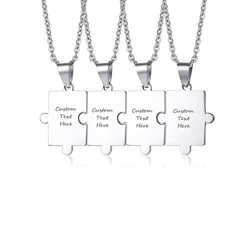 VNOX Personalisierte Maßgeschneiderte Edelstahl Passenden Puzzle Anhänger Paare Freundschaft BFF Familie Halskette Set für 4, Kostenlose Gravur
