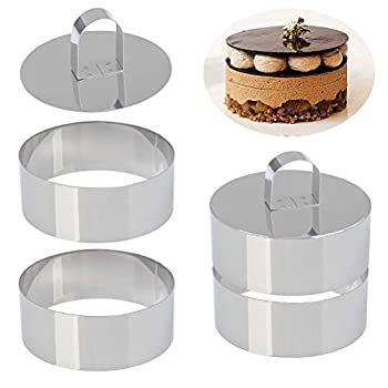Set of 4 - Round Stainless Steel Small Cake Rings Mousse and Pastry Mini Baking Ring Mold Food Rings Cake Rings Dessert Rings Set Including 4 Rings & 2 Food Presses  Round
