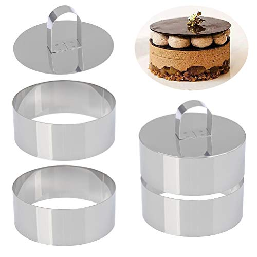 Set of 4 - Round Stainless Steel Small Cake Rings, Mousse and Pastry Mini Baking Ring Mold, Food Rings Cake Rings Dessert Rings Set Including 4 Rings & 2 Food Presses (Round)