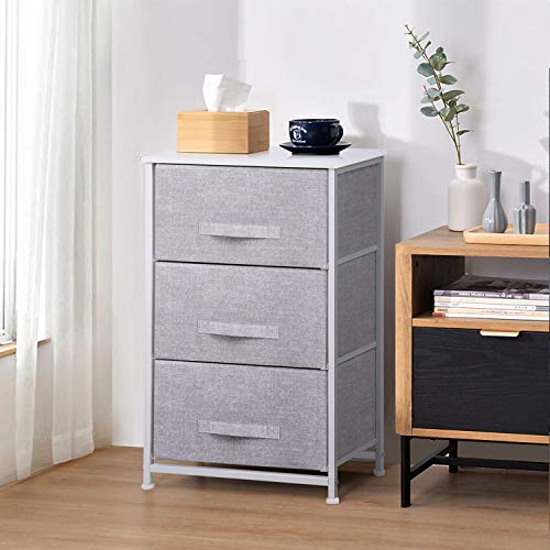 Joolihome Chest of Drawers, Storage Wardrobe Cabinet with 3 Grey Fabric Drawers & Metal Frame, Cloth Organizer Unit for Living Room, Bedroom, Kids Room, Dorm Room, Hallway (Grey, 3 Tier)