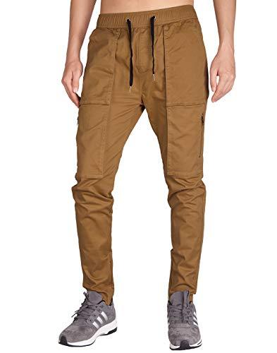 ITALY MORN Carga Chino bragas ocasionales cintura afilada elástico delgado bolsillos de múltiples para Hombres S Marrón