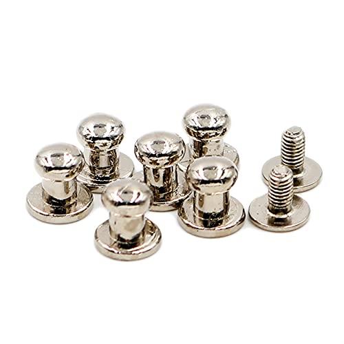 Remaches de metal 100Sets Silver Silver Aleación Cabeza Redonda Tachuelo Spot Spot Restos CraftPeather Bolsa Cinturón Chicago Botón Tornillo Nail Remache reparado (Color : Silver)