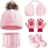 Baby Winter Warm Knit Set of 5, Toddler Beanie Hat Scarf Earmuffs Mittens Socks (Pink)