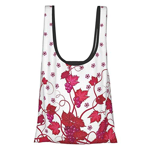 VimcustomPr Uvas decoración del hogar vino francés hojas de uva decoración hiedra rojo femenino retro impresión imagen coral blanco reutilizable plegable bolsas de compras ecológicas